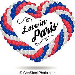 Balloons in the shape of a heart in the colors of the flag of France. Vector