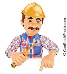 3D Electrician with a screwdriver pointing down. Blank space...