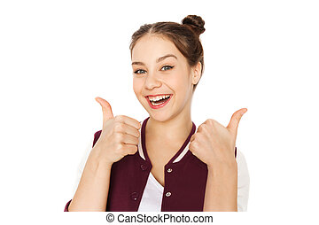 happy smiling pretty teenage girl - people and teens concept...