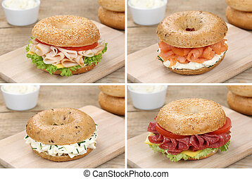 Collection of bagels with cream cheese, salmon fish, salami...