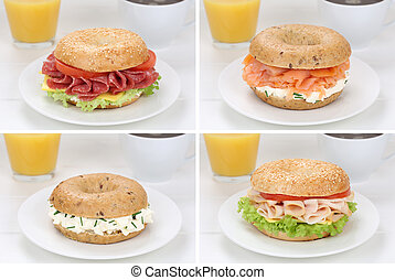 Collection of bagels for breakfast with salami ham, salmon,...