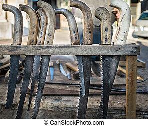 viejo, hacksaws, guadañas, hechaa mano, usado, Utilizar,...