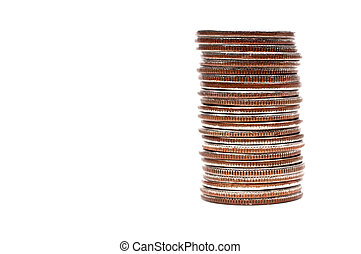A horizontal image of a stack of quarters  with copy space