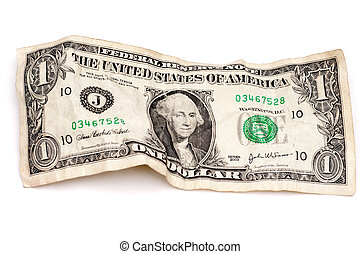 A horizontal image of a wrinkled American dollar bill