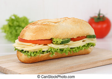 Sub deli sandwich baguette with cheese for breakfast - Sub...