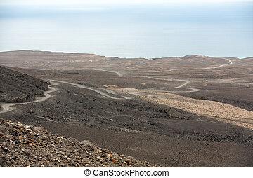 A raod to Playa de Cofete, Fuerteventura, Canary Islands,...