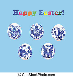 Set of Easter eggs painted Gzhel style on blue background