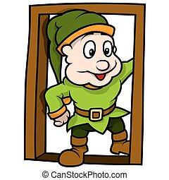 Green Elf At The Door