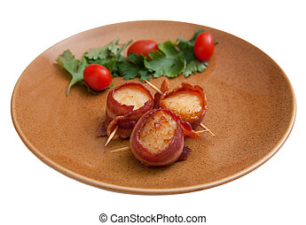 bacon wrapped scallops - plate of three bacon wrapped...