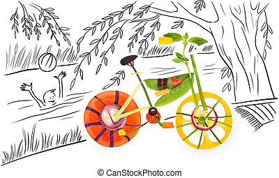 Summer and bike - Healthy food concept of a fixed gear...