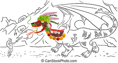 Spicy dragon - Food concept of a mythological Chinese dragon...