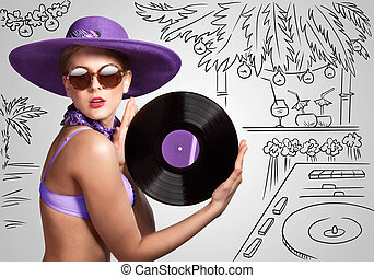 Exotic party. - Colorful photo of a beautiful deejay in...
