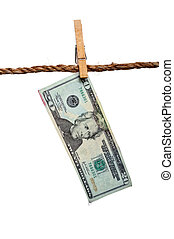 A dripping 20 dollar bill on a clothesline: money laundering...