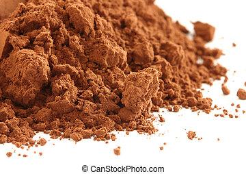 Cocoa powder - Dark cocoa powder scattered on white...