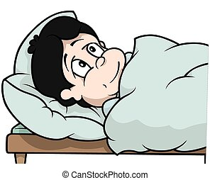 Boy Laying In Bed - Cartoon Illustration, Vector