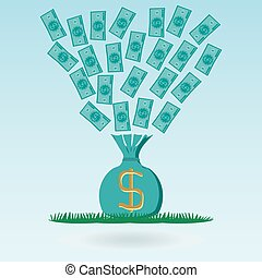 Flying dollar banknotes in a money bag, green grass. Investments, cash savings. A waste of money.