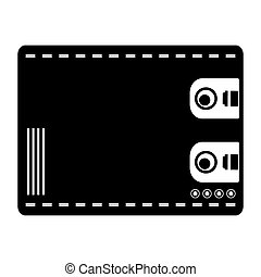 Wallet for cash, black silhouette on white background Global...