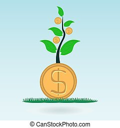 Dollar gold coin, money in the green sprout of tree. Investing in innovation, the protection of nature. Global Finance.