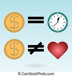 Gold dollar coins, watches, red heart. Time is money. Love is not for sale.