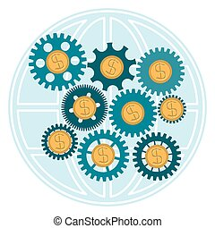 The gear with gold dollar coins on a background of the globe.