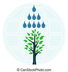 A tree in the rain, drops of water on the background of the globe. Natural disaster, flood, storm. Drought, help in irrigation of plants and agriculture. Global warming.