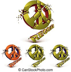 Green and orange 3d vector peace signs collection created...