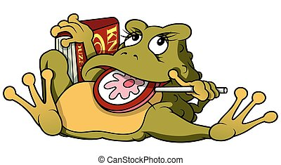 Frog With Lollypop And Book - Cartoon Illustration, Vector