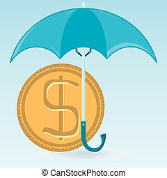 Dollar gold coin under the umbrella. Keeping money, capital protection.