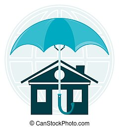 The house under an umbrella on the background of the globe. The protection of property, protection of homes from flooding, safety. A security alarm.