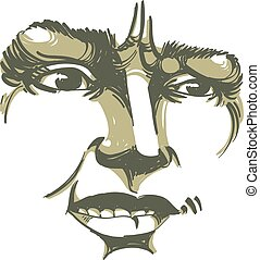 Vector drawing of distrustful woman, face features Black and...