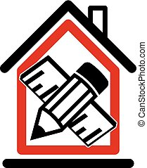 Architectural design conceptual symbol, simple vector house...