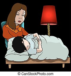 Mom And Sleeping Boy - Cartoon Illustration, Vector