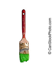 paintbrush dripping environmentally friendly green paint on...