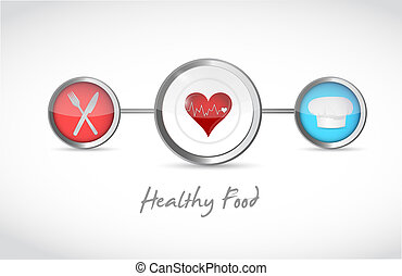 healthy food healthy heart link diagram illustration design