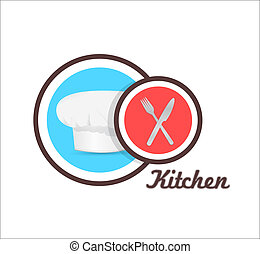 chef hat and utensils sign graphic