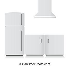 white kitchen electronics. illustration