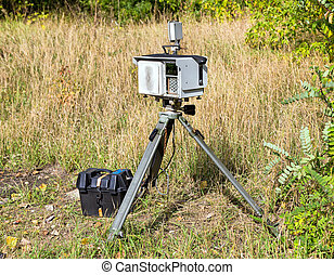 Complex mobile speed camera, mounted on a tripod