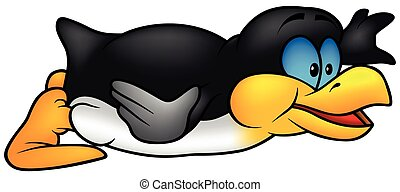 Laying Penguin - Colored Cartoon Illustration, Vector