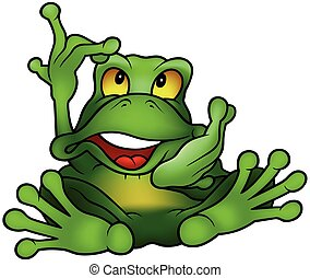 Chatty Green Frog - Colored Cartoon Illustration, Vector