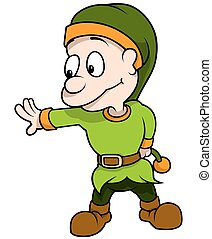 Elf Leaning - Colored Cartoon Illustration, Vector