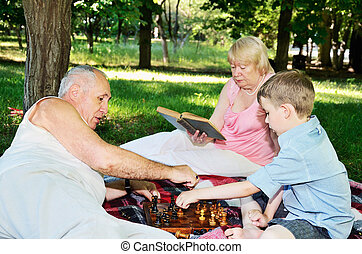 grandmother reading a book and little boy and his...
