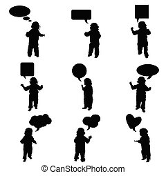 child vector with speech bubble in black