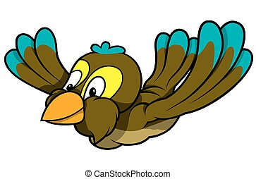 Flying Sparrow - Colored Cartoon Illustration, Vector