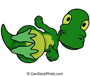 Green Laying Dinosaur - Colored Cartoon Illustration, Vector