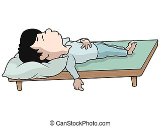 Sleeping Boy - Cartoon Illustration, Vector