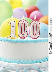 bolo, celebrando, 100th, aniversário,