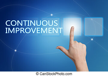 Continuous Improvement - hand pressing button on interface...