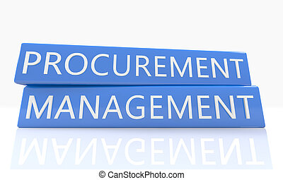 Procurement Management - 3d render blue box with text on it...