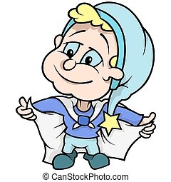 Blue Dwarf - Colored Cartoon Illustration, Vector