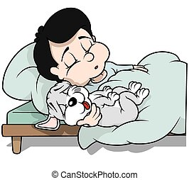 Sleeping Boy with Puppy Dog - Cartoon Illustration, Vector